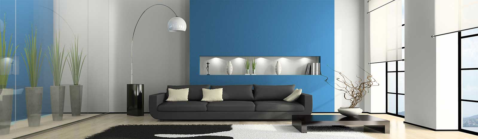 Loft-style living room with blue wall